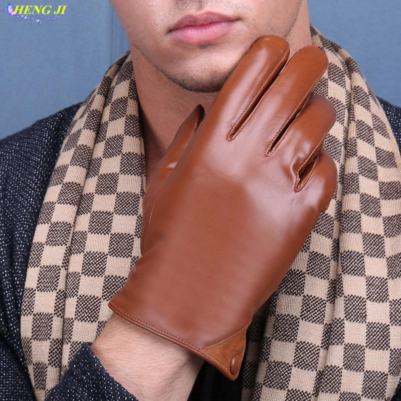 The new 2017 mens leather gloves in winter warm warm sheepskin gloves and hair thickening high quality men driving gloves ...