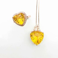 shilovem 925 sterling silver Piezoelectric citrine Rings pendants send necklace Jewelry women trendy wedding open ctz10101515