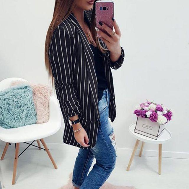 Z Autumn Long Sleeve Slim Fit Fashion Casual Blazers 2018 Office Lady striped Blazer Open Front Ladies Coat Women Formal Jackets 1