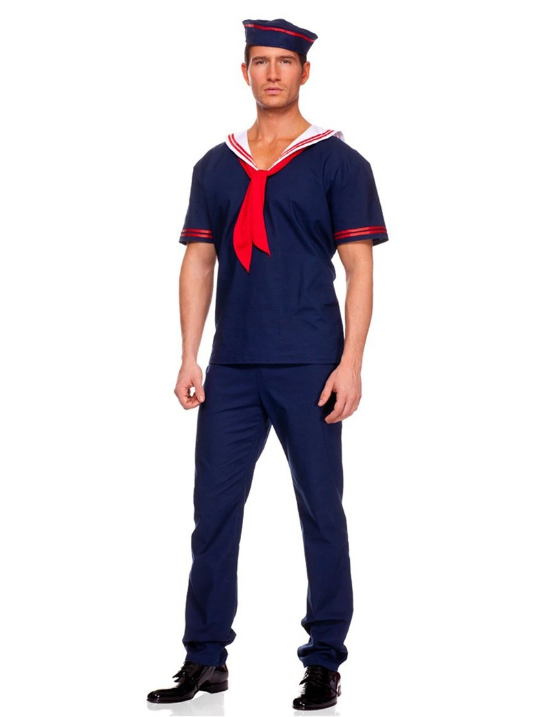 MOONIGHT Sailor Costume Men Fashion Handsome Top With Tie For Halloween Cosplay Party Navy Performance Clothing