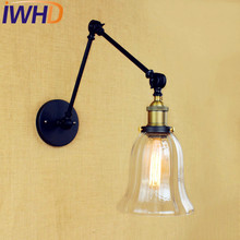 IWHD Industrial Glass Swing Long Arm Wall Lamp Lighting Wandlampen LED Loft Vintage Wall Light Fixtures Sconce Lampara Pared iwhd vintage glass lampara pared creativeretro iron loft wall lamp black bedroom lighting stairs beside reading light fixture