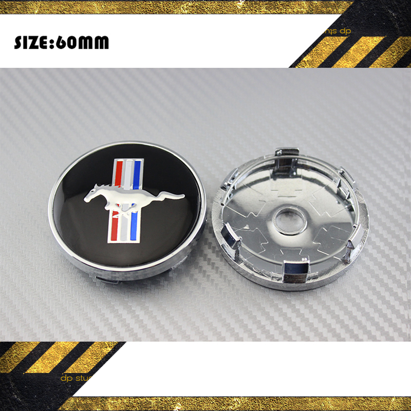 4 X BLACK RUNNING HORSE 60MM CAR WHEEL Hub Center LOGO Caps Metal Aluminum emblem badge Fits for Mustang #SO298