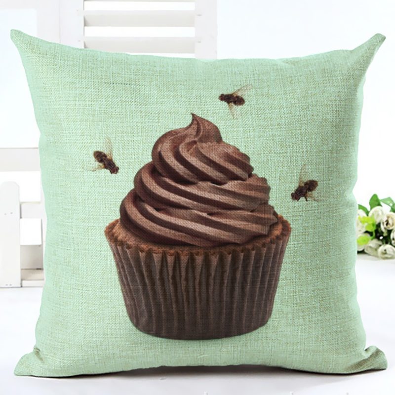 Cojines Chocolate Tasty Cupcake Cushion Cover Creative Ice Cream Decoration