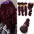 Beauty Hair 99j Brazilian Hair Loose Wave Lace Closure With 99j Color 3pcs Brazilian Hair Bundles Free Shipping