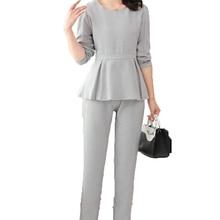 Woman Business Casual 2PCS Trouser Suit Gray Twinset Spring Autumn Women Peplum Top And Pant Suits Set Lady Ensenble 2018