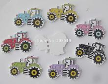 WBNVOE New Arrival Tractor buttons for children Mix colors 200pcs DIY sewing wood button apparel accessory