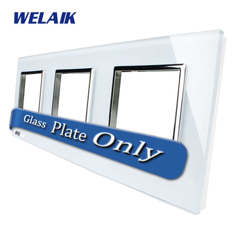 WELAIK  Touch Switch DIY Parts  Glass Panel Only of Wall Light Switch Black White Crystal Glass Panel Square hole  A3888W1/B1 welaik crystal glass panel switch white wall switch eu remote control touch switch light switch 1gang2way ac110 250v a1914w b