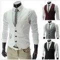 Оптовая продажа! Бесплатная доставка мужская сплошной цвет жилет ну вечеринку платье высококачественный четыре цвета размер M-XXL