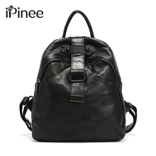 iPinee Fashion Real Cowhide Patchwork Genuine Leather Backpacks For Teenage Girls School Bags