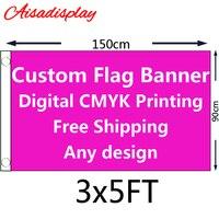 Бесплатная доставка 3'x5' Изготовленный На Заказ Флаг или 3x5 футов (150 х 90 см) с цифровая печать всех цветов любой дизайн