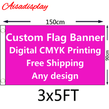 Free shipping 3x5 Custom flag or Banner Foot(150X90cm) with digital printing of all colour any design