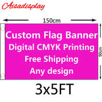Free shipping 3'x5' Custom flag or Banner 3x5 Foot(150X90cm) with digital printing of all colour any design