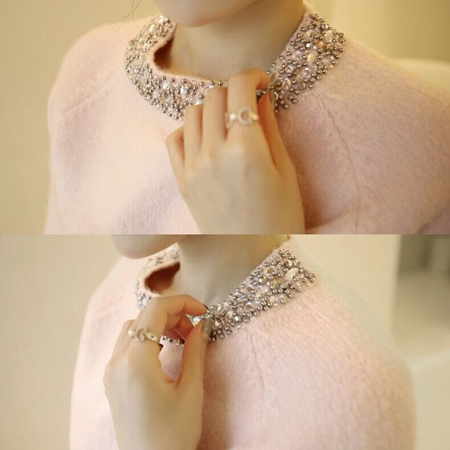 El valor de 2016 nueva Styleonme brillante con incrustaciones de diamantes collar del grano del clavo especial hebilla De Punto Suave llevar de nuevo