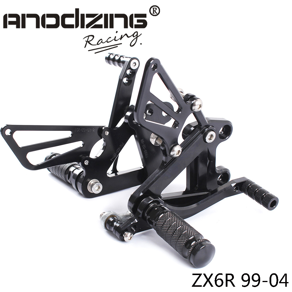 Full CNC Aluminum Motorcycle Adjustable Rearsets Rear Sets Foot Pegs For KAWASAKI ZX6R ZX 6R 1999
