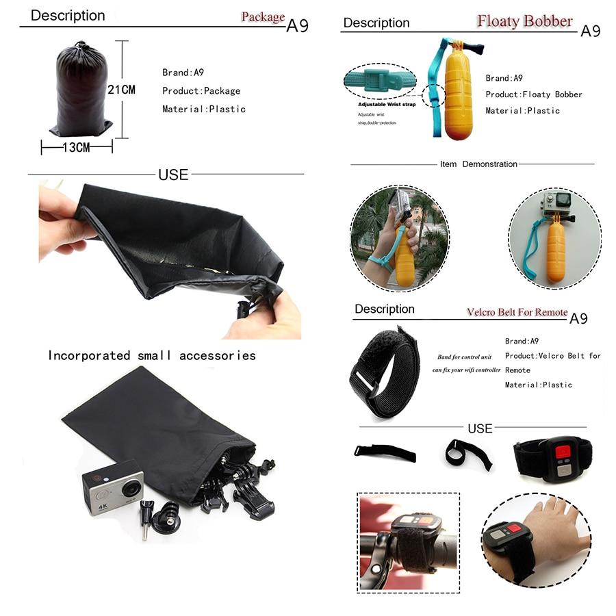 A9 Para Gopro set de accesorios go pro kit mount SJCAM Xiaomi Yi para - Cámara y foto - foto 4