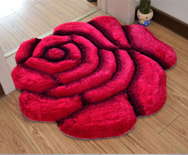Яркий цвет, 3D Цветочный дизайн, ковер для спальни, коврик для ванной, нескользящий коврик для двери, коврик для пола, большой коврик для ванной комнаты, tapete banheiro - Цвет: meihongse