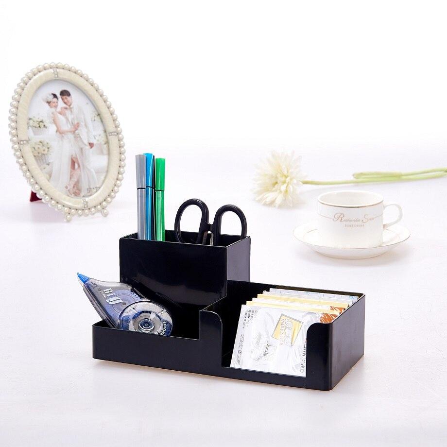 Korea Multifunctional Plastic Pen Holder 20.4x9.9x9.1cm Office School Student Stationery Desk Organizer Holder Set