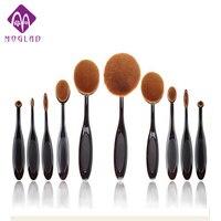 10pcs Lot Tooth Brush Shape Oval Makeup Brush Set MULTIPURPOSE Professional Foundation Powder Brush Kit With