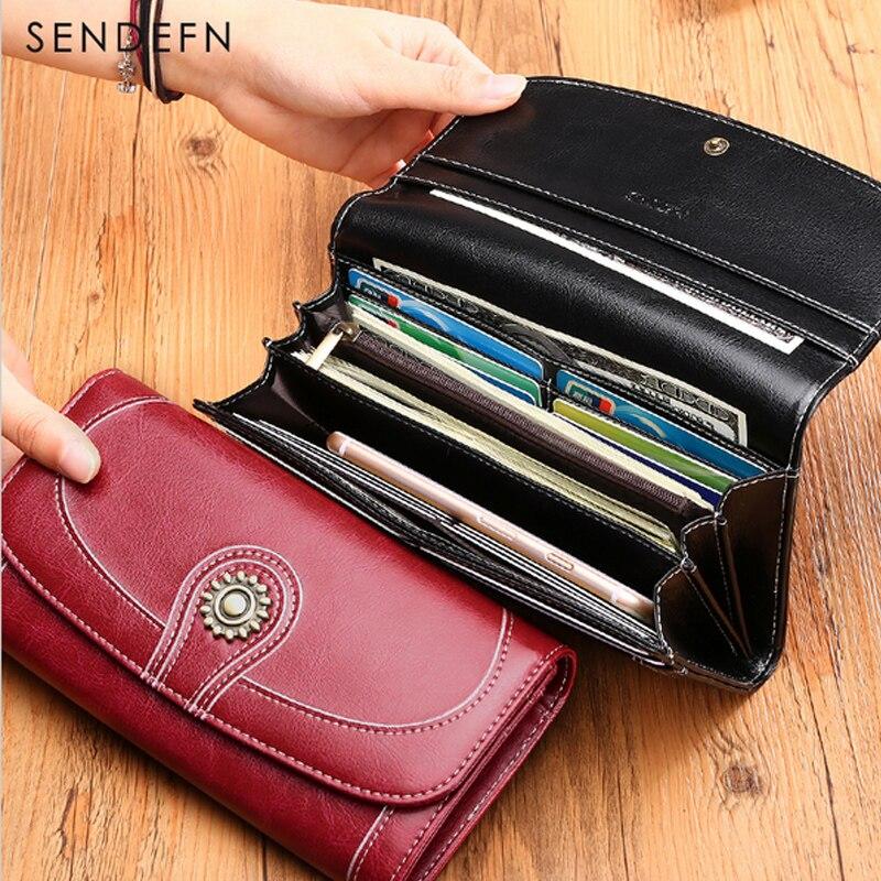 SENDEFN Split Kulit Wallet Panjang Wanita Jenama Wanita Vintage - Dompet - Foto 4