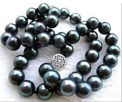 REAL SURPRISING REAL NATURAL TAHITIAN 9-10MM BLACK PEARL NECKLACE 18>Selling jewerly free shipping