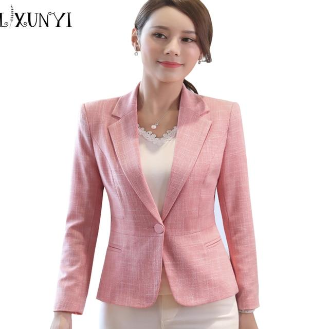 2018 moda Rosa Blazer femenino Plus Size 4XL Formal de chaqueta de lino blanco  mujer Oficina 28d4614977aa
