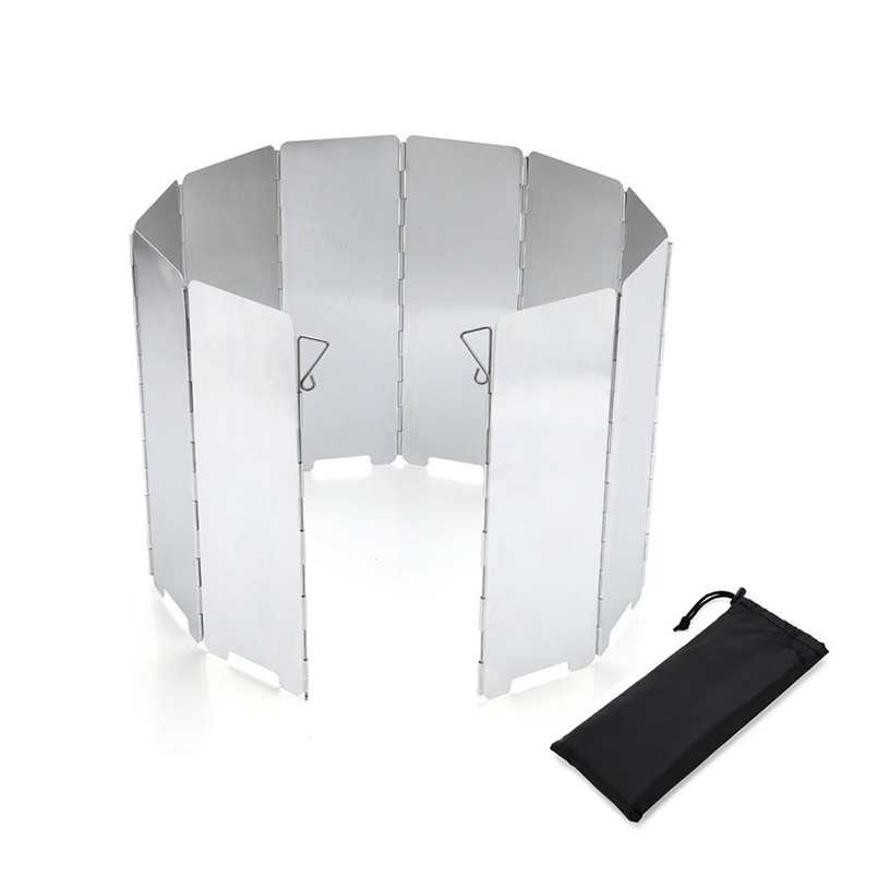 Strong Durable 8-16 Plate Foldable Burner Windshield Outdoor Camping Cooking Gas Stove Wind Screen Wind Shield Camping Equipment