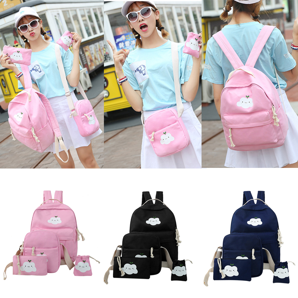16 lovely design cute cloud printing canvas women backpack middle school student book bag leisure backpack objective ielts advanced student s book with cd rom