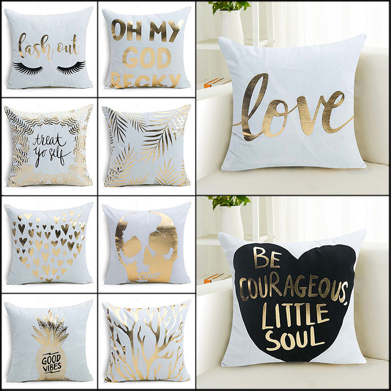 Bronzing Cushion Cover Love Letter Leaves Pillow Case Gold Print Pillow Covers for Home Sofa Decoration Pillowcase