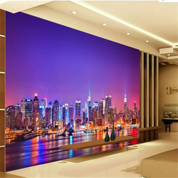 Wallpapers YOUMAN 3d Images Hd Custom Modern 3D Non-Woven Wallpaper Mural City Night Landscape Wallpaper Purple Room Murals wallpaper wallpaper city guide basel 2012