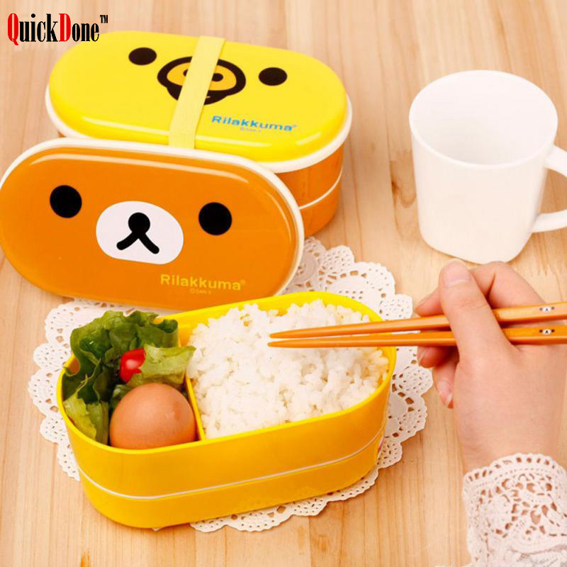 QuickDone 2 Layer Plastic Rilakkuma Lunch Box Cute Cartoon Container Food Bento Durable And High Quality Dinnerware AKC6059