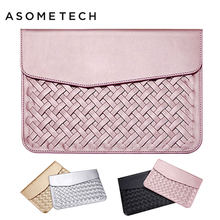 Luxury PU Leather Laptop Bag Case For Macbook Air Pro Retina 11 12 13 15 Weaving Protective Sleeve Pouch Bag For Mac book Cover(China)
