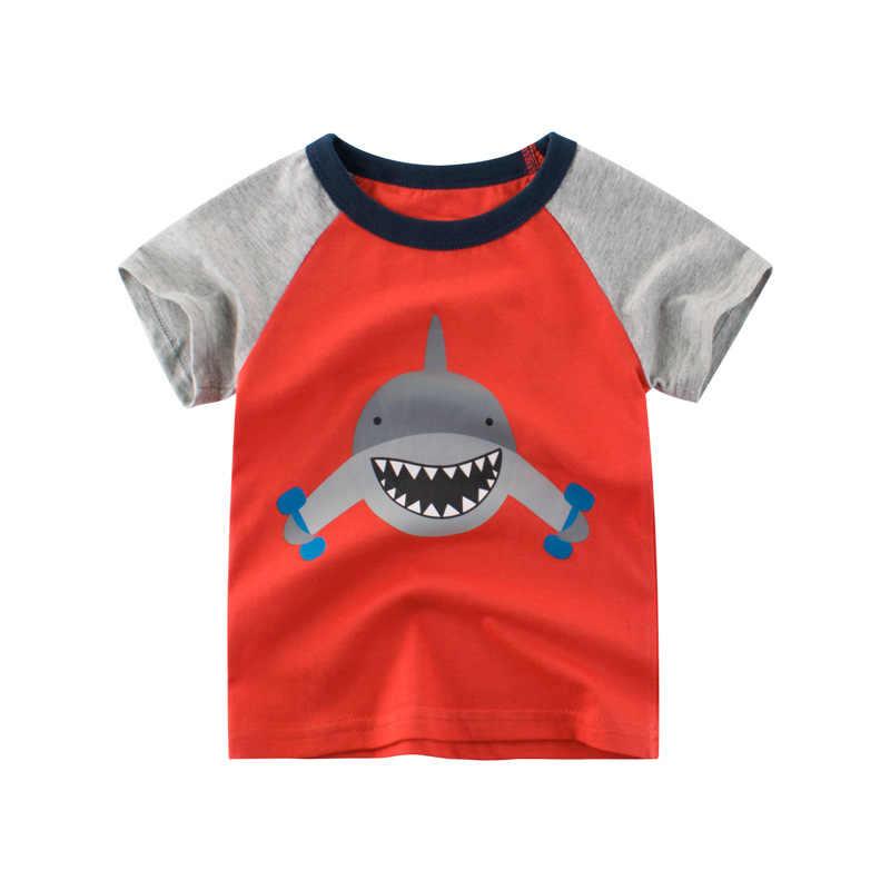 Cartoon Haai Kinderen T-shirts Zomer 2019 Korte Mouw Casual T-shirt Voor Jongens Baby Meisjes 100% Katoen Tops Tees Kleding