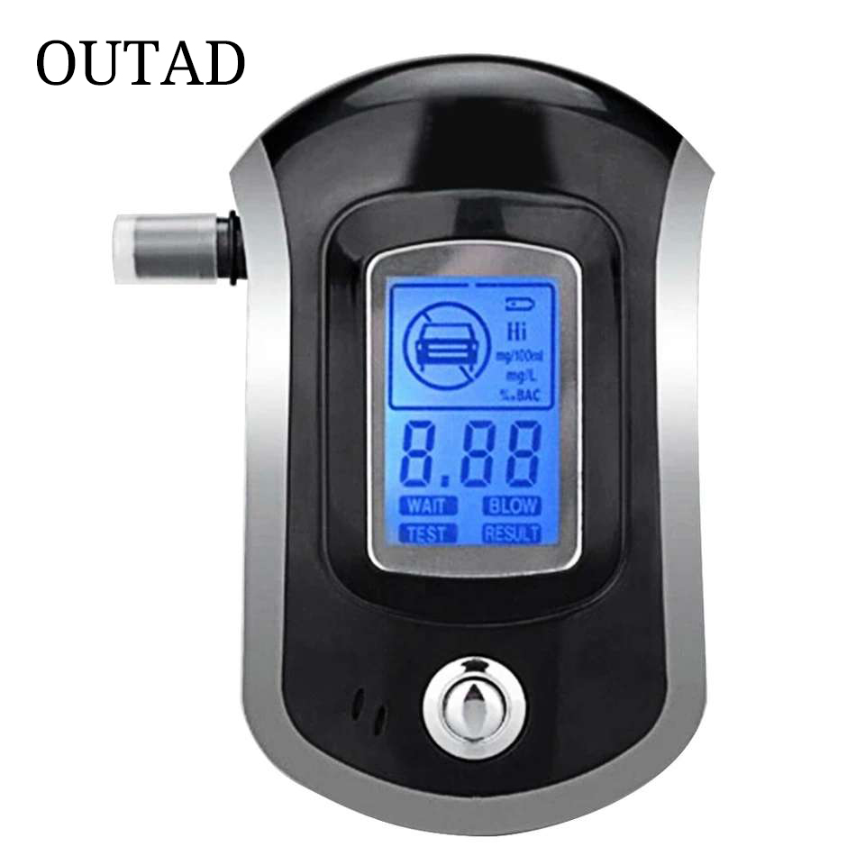 Professional Digital Breath Alcohol Tester Breathalyzer with LCD Dispaly with 5 Mouthpieces AT6000 Hot Selling Drop Shipping new hot selling 2018 professional police digital breath alcohol tester 818 breathalyzer at818 free shipping 10pcs mouthpieces