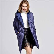 Европейский белая утка пуховик новый 2016 высокое качество женщин зима теплая толщиной с капюшоном свободный Большой размер пуховик пальто AE963