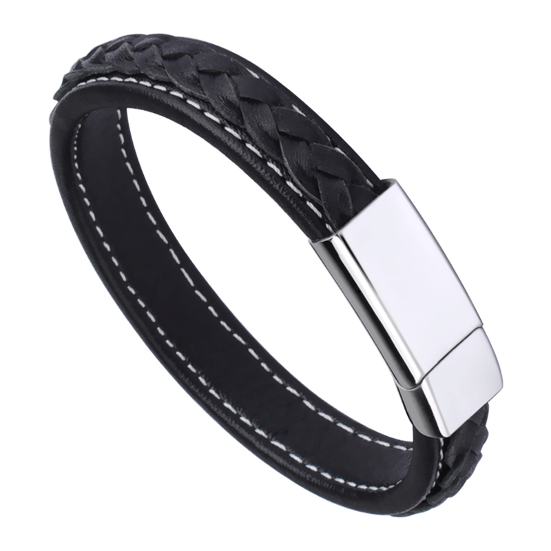 High Quality Black Genuine Leather Bracelets for Man/Boy with Stainless Steel Free Shipping 20.5cm Length