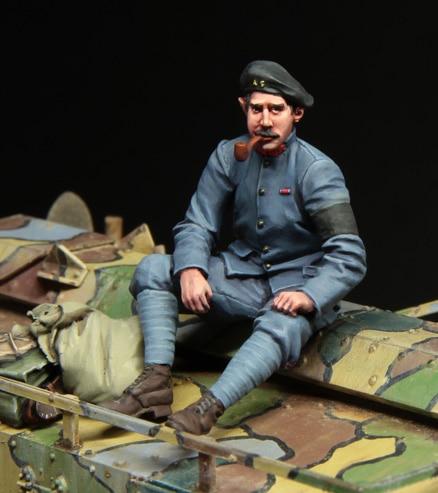 [tuskmodel] 1 35 scale resin model figures kit  WW1 French Tank crewman set 2 1