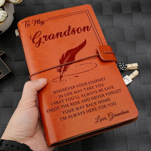 To My Granddaughter Where Ever Love Dad//Mom Engraved Journal C2J1 Leather M9E7