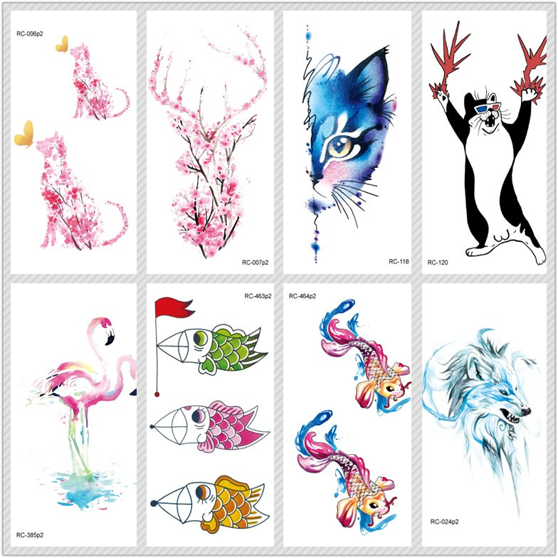Rocooart Cute Animals Tatoo Cat Fish Temporary Tattoo Stickers Taty For Women Fake Tattoo Body Art Tatuajes Tatouage Temporaire