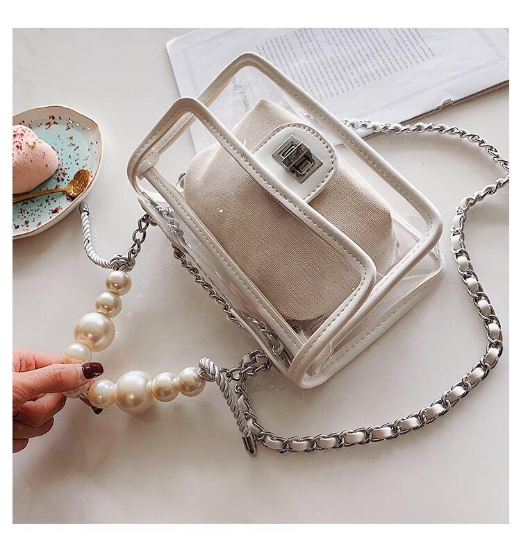 Sac Transparent pour femme en cuir PVC solide clair coloré sac messenger vintage femmes chaîne épaule sac perle sac à main sac à main