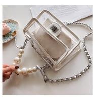 Transparent women's bag PVC leather solid Clear colorful messenger bag vintage women Chain shoulder Pearl bag handbag Purse