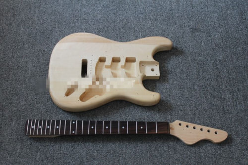 1set Unfinished electric Guitar Neck and body for ST Replacement 22 Fret electric guitar gwarem st guitar zebrawood body and neck with gold hardwareguitar in china