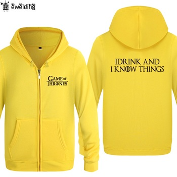 Zipper Hoodies Men GAME OF THRONES I DRINK AND I KNOW THINGS
