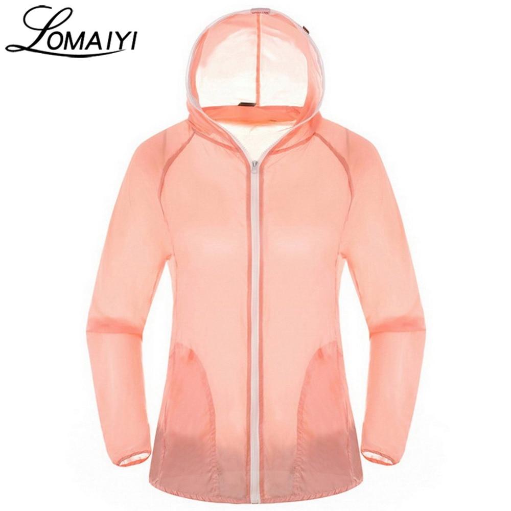 LOMAIYI Anti-Uv Basic Jacket Women Men 2017 Summer Ultra Light Coat Waterproof Windbreaker Girls Ladies Jackets Hood,AM032