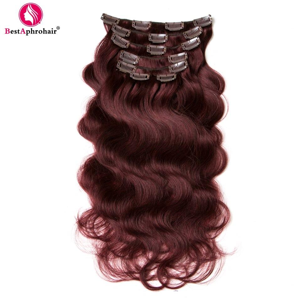 Pince à cheveux Aphro dans les Extensions de cheveux humains Non Remy cheveux 7 pièces/ensemble 100g vague de corps 16-24 pouces # 99J # rouge #2 #4 Clip Ins cheveux péruviens