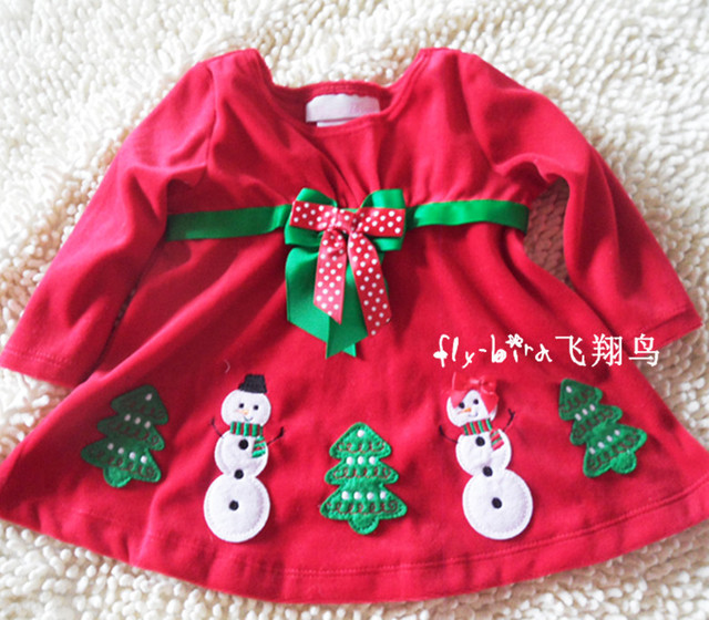 Baby girl's winter clothing 2012 toddler's Christmas tunic dress/top with snowman and tree festival clothes 0M-5T free shipping