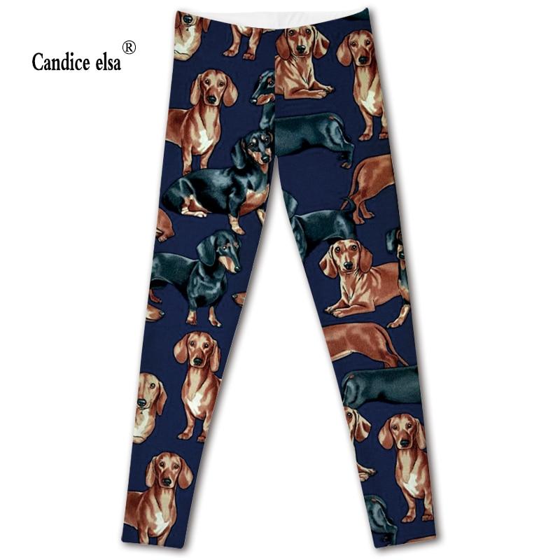 CANDICE ELSA women   leggings   elastic fitness   legging   dog printed leggins workout female pants drop shipping plus size