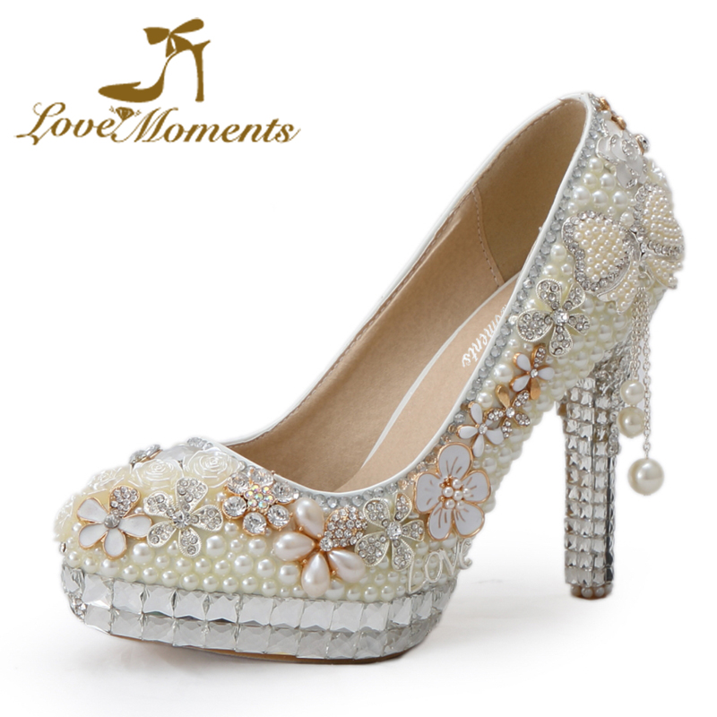 Love Moments handmade 11cm Heels Wedding bridal shoes crystal pearl Rhinestone wedding dress party shoes ivory pumps large size 2015 handmade white ivory pearl wedding shoes gorgeous diamond bridal shoes sexy women dress high heels pumps free shipping