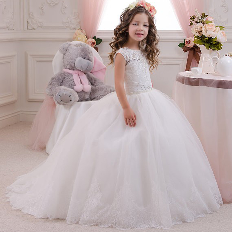 Glizt Crystals Puffy White Lace Flower Girl Dress For Weddings Ball