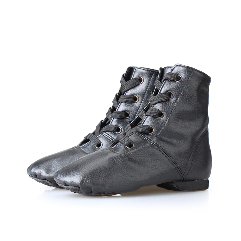 PU leather jazz boots male female dance shoes soft outsole jazz shoes high shoes dance national dance jazz sneakers