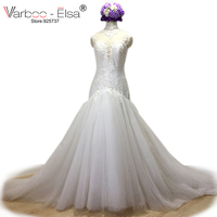 VARBOO ELSA 2018 Sexy White Lace Mermaid Wedding Dress High Neck Royal Train Wedding Gown Vestido